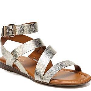 Franco Sarto gold gauge flat sandal size 9